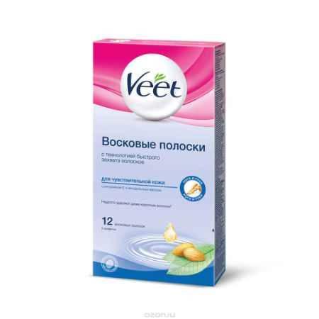 Купить Veet Восковые полоски, для чувствительной кожи, 12 шт, 2 салфетки