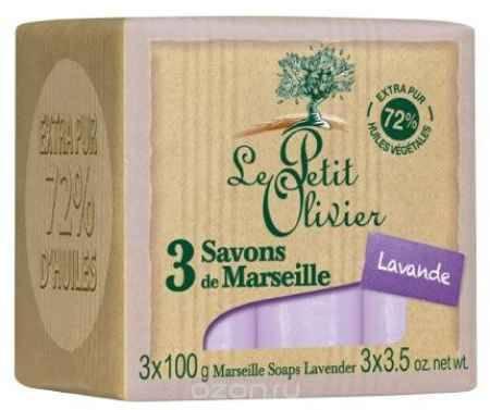 Купить Le Petit Olivier Мыло марсельское, с лавандой, 3 х 100 г