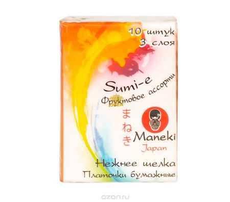 Купить Maneki Платочки бумажные Sumi-e, 3 слоя, 10 шт. в пачке, с ароматом фруктов