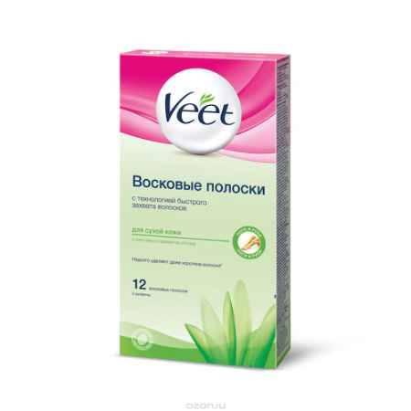 Купить Veet Восковые полоски для сухой кожи с алоэ вера и молочком лотоса , 12 шт, 2 салфетки