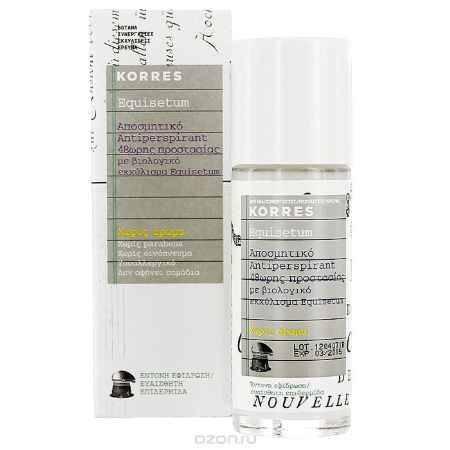 Купить Korres Дезодорант шариковый с экстрактом хвоща, для чувствительной кожи, без отдушек, 30 мл
