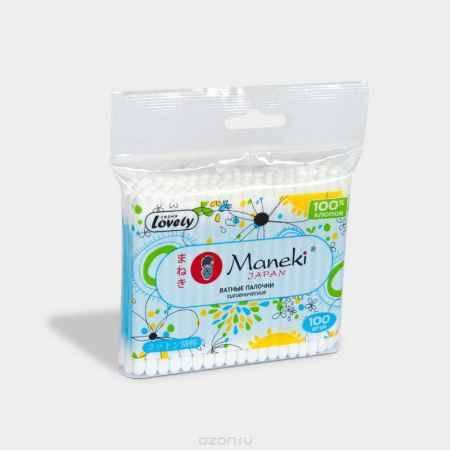 Купить Maneki Палочки ватные гигиен Lovely, с голубым пластиковым стиком, в zip-пакете, 100 шт.