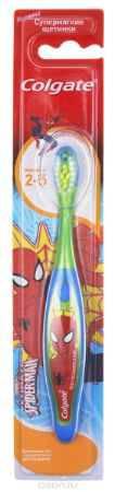 Купить Colgate Зубная щетка для мальчика Spiderman детская от 2 до 5 лет супермягкие, цвет зеленый, синий