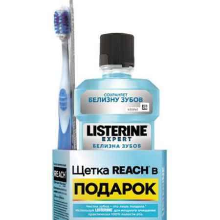Купить LISTERINE Expert Белизна Зубов Ополаскиватель для полости рта 6 в 1 + REACH® Floss Clean Зубная щетка средняя в ПОДАРОК