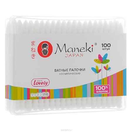 Купить Maneki Палочки ватные косметические Lovely, с белым пластиковым стиком, 100 шт.