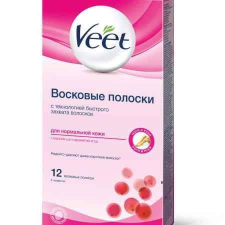 Купить Veet Восковые полоски для нормальной кожи с маслом ши и экстрактом ягод, 12 шт, 2 салфетки