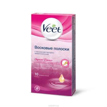 Купить Veet Восковые полоски с ароматом бархатной розы и эфирными маслами, 10 шт, 2 салфетки
