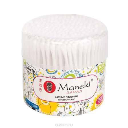 Купить Maneki Палочки ватные гигиенические Lovely, с белым пластиковым стиком, в пластиковом стакане 300 шт.