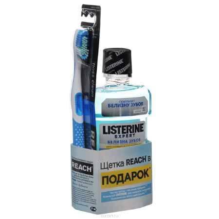 Купить LISTERINE EXPERT Ополаскиватель для полости рта Белизна зубов 250мл +REACH Floss Clean Medium Зубная щетка средняя