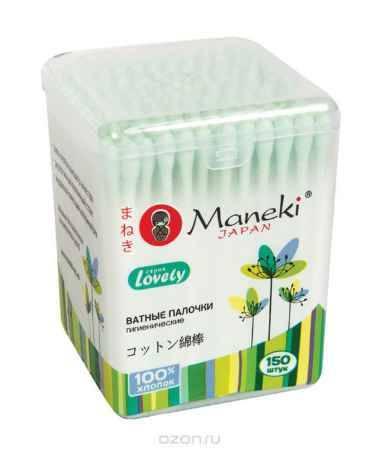Купить Maneki Палочки ватные гигиенические Lovely, с зеленым бумажным стиком, в пластиковой коробке, 150 шт.