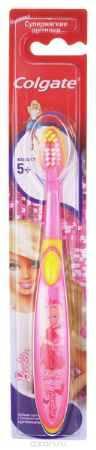 Купить Colgate Зубная щетка Smiles для девочки Barbie детская старше 5 лет, цвет розовый, желтый