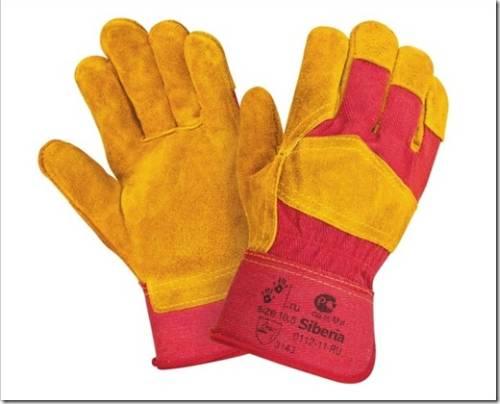 Где используются спилковые перчатки из бахтармяного слоя?